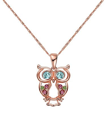 907e5fef3 Another great find on #zulily! Swarovski® Crystal Rose Gold Owl Pendant  Necklace #zulilyfinds