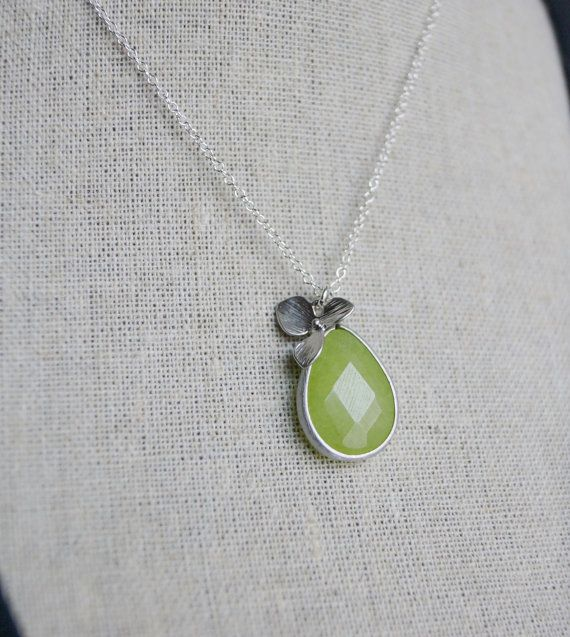 Apple Green Stone Sterling Silver Necklace on Etsy, $26.00