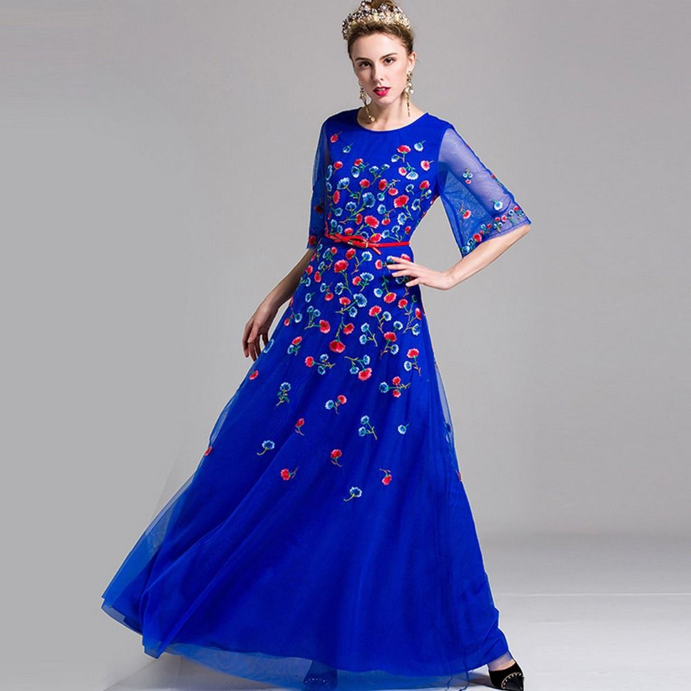 Spring summer half flare sleeves embroidery layers elegant long
