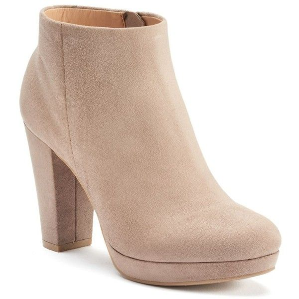 LC Lauren Conrad Women's Platform Ankle Boots (87 BRL) ❤ liked on Polyvore featuring shoes, boots, ankle booties, heels, booties, lt beige, heeled booties, thick heel boots, short heel boots and chunky heel boots