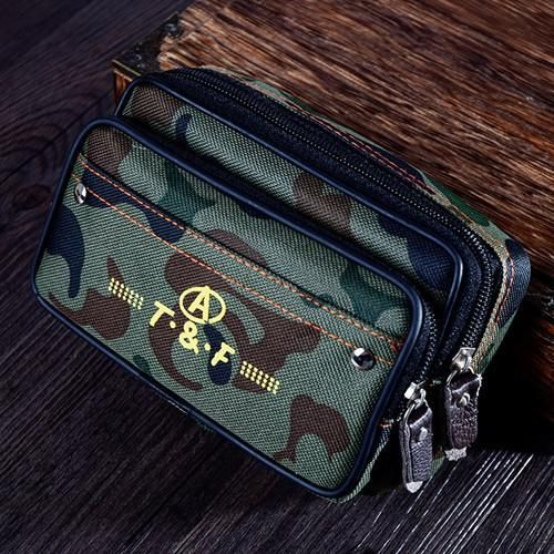 Canvas Work Waist Bag Army Military Small Bags Molle Waist Bags Casual Waterproof Double Zipper Design Waist Pack