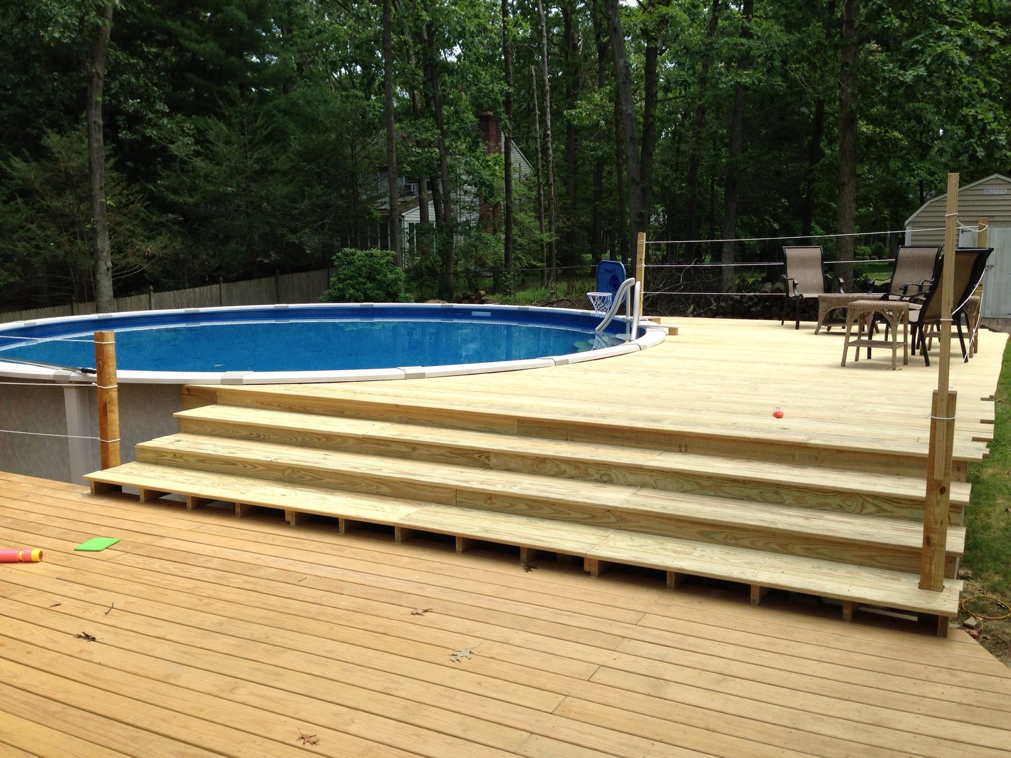 ground pool with deck add on to our current deck