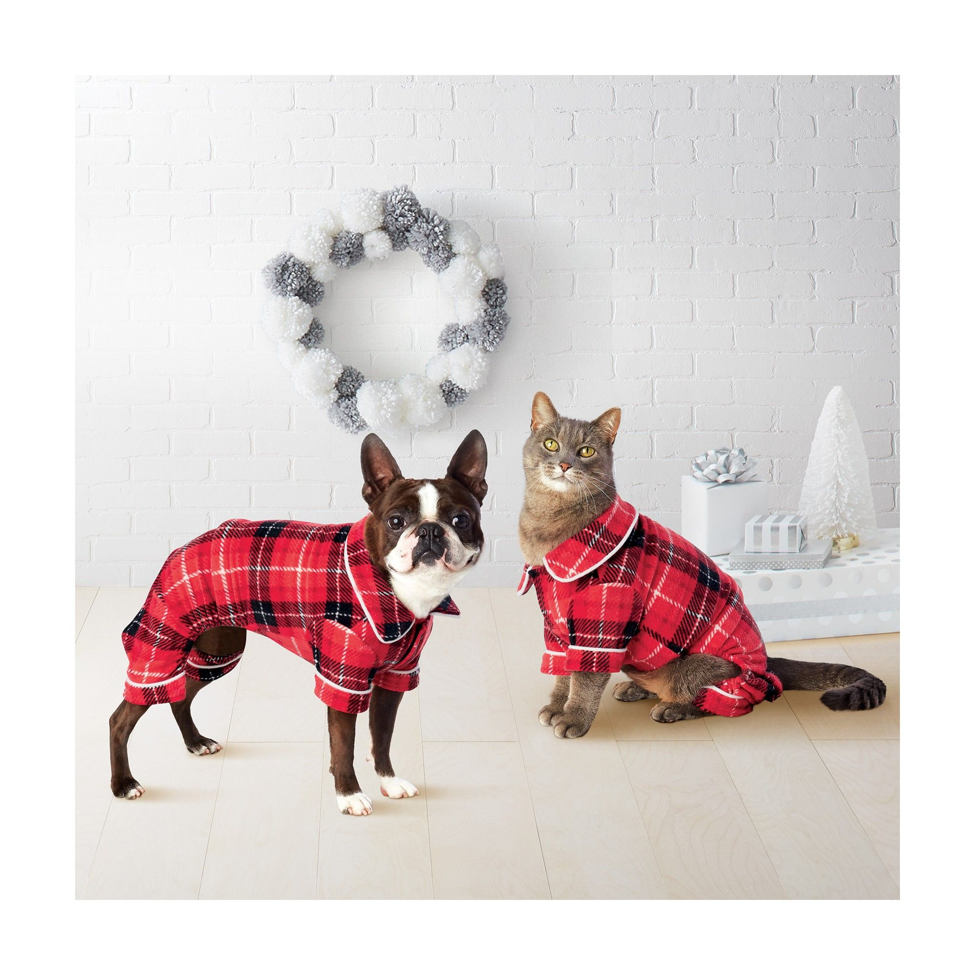 Pet Plaid Holiday Notch Collar Pajamas Red XS