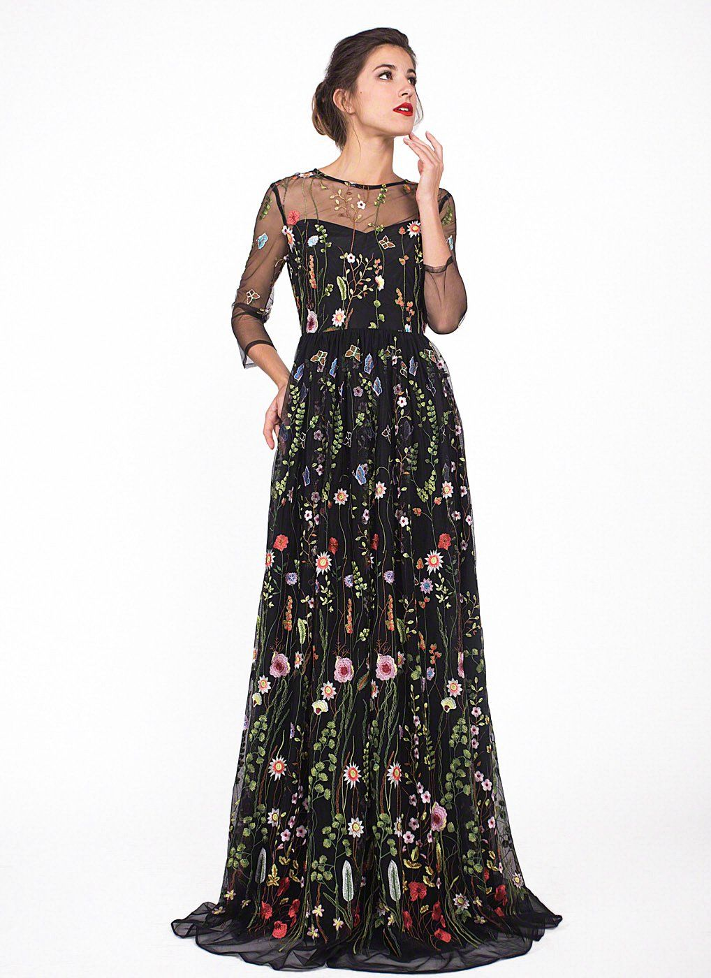 aae90688bc4d White Tulle Colorful Floral Embroidery Whimsical Maxi Evening Dress with  Sheer 3 4 Sleeves