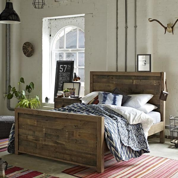 Mitcham Large Oak Squared Industrial Sideboard Ex Display Reclaimed Wood Beds Wood Beds Industrial Bed Frame