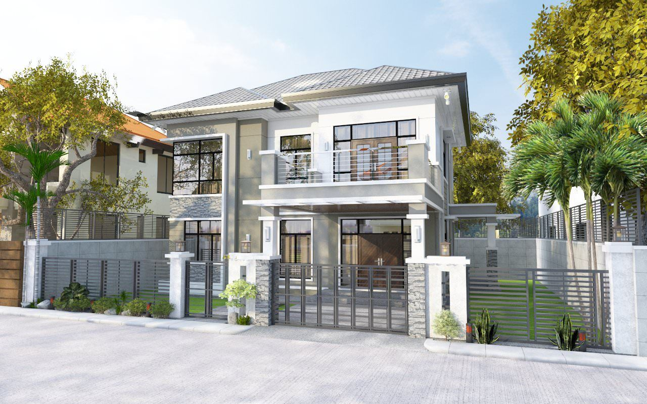 2 Storey Classic Contemporary House Con Ho... 3D Model - CGTrader ...
