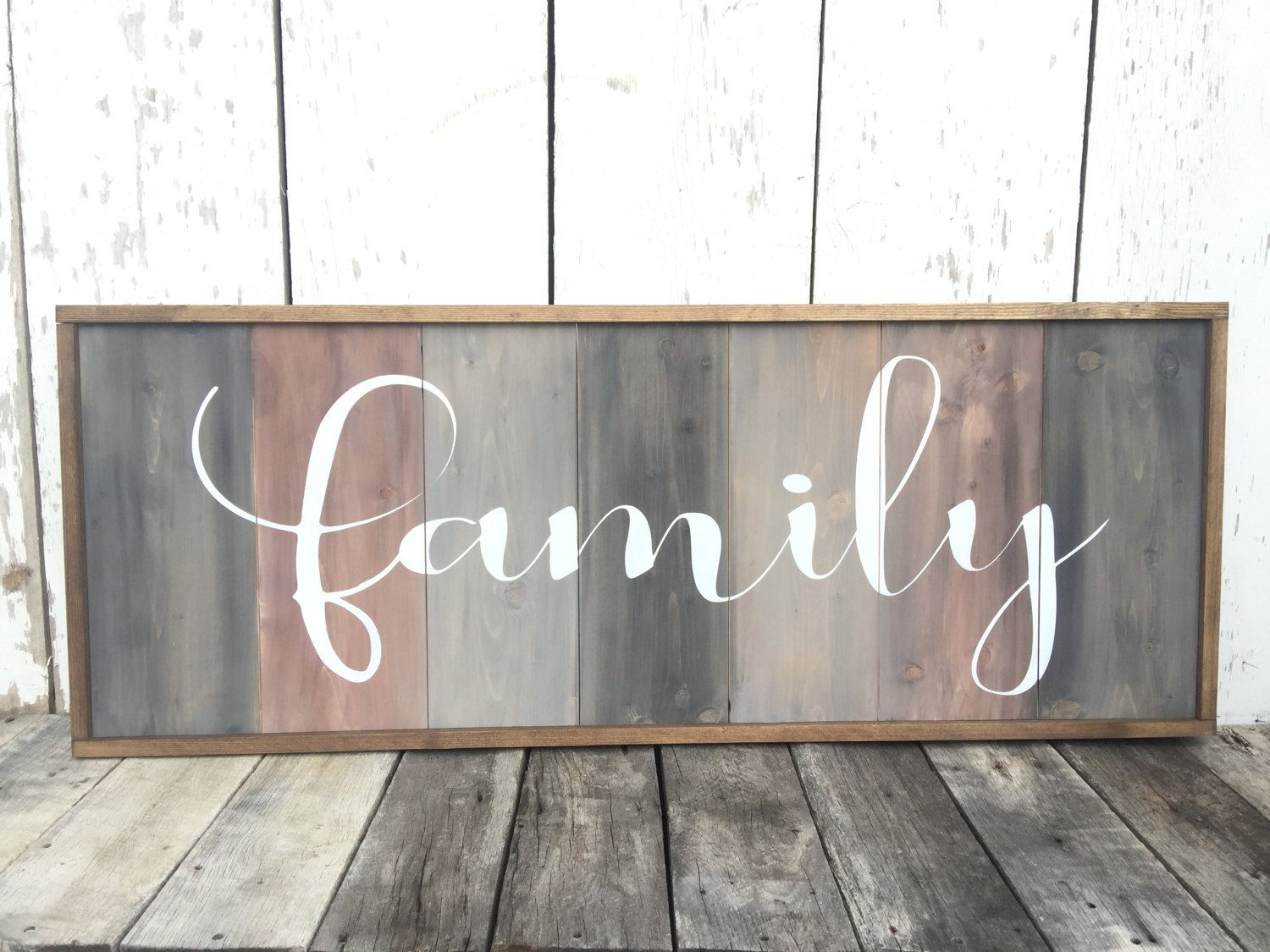 Family Wood Sign Home Decor Large Rustic 1 St