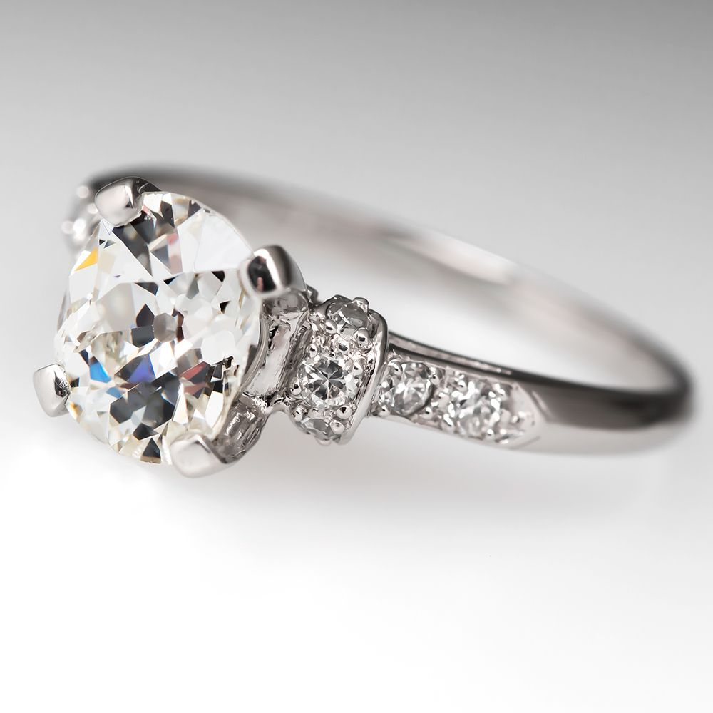 Ecofriendly Old Miner Diamond Engagement Ring Platinum 1930's