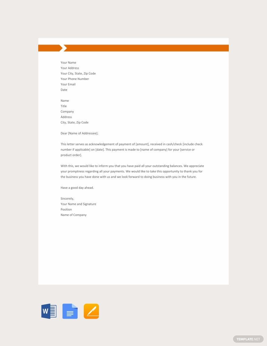 Free Payment Acknowledgement Letter With Images Lettering