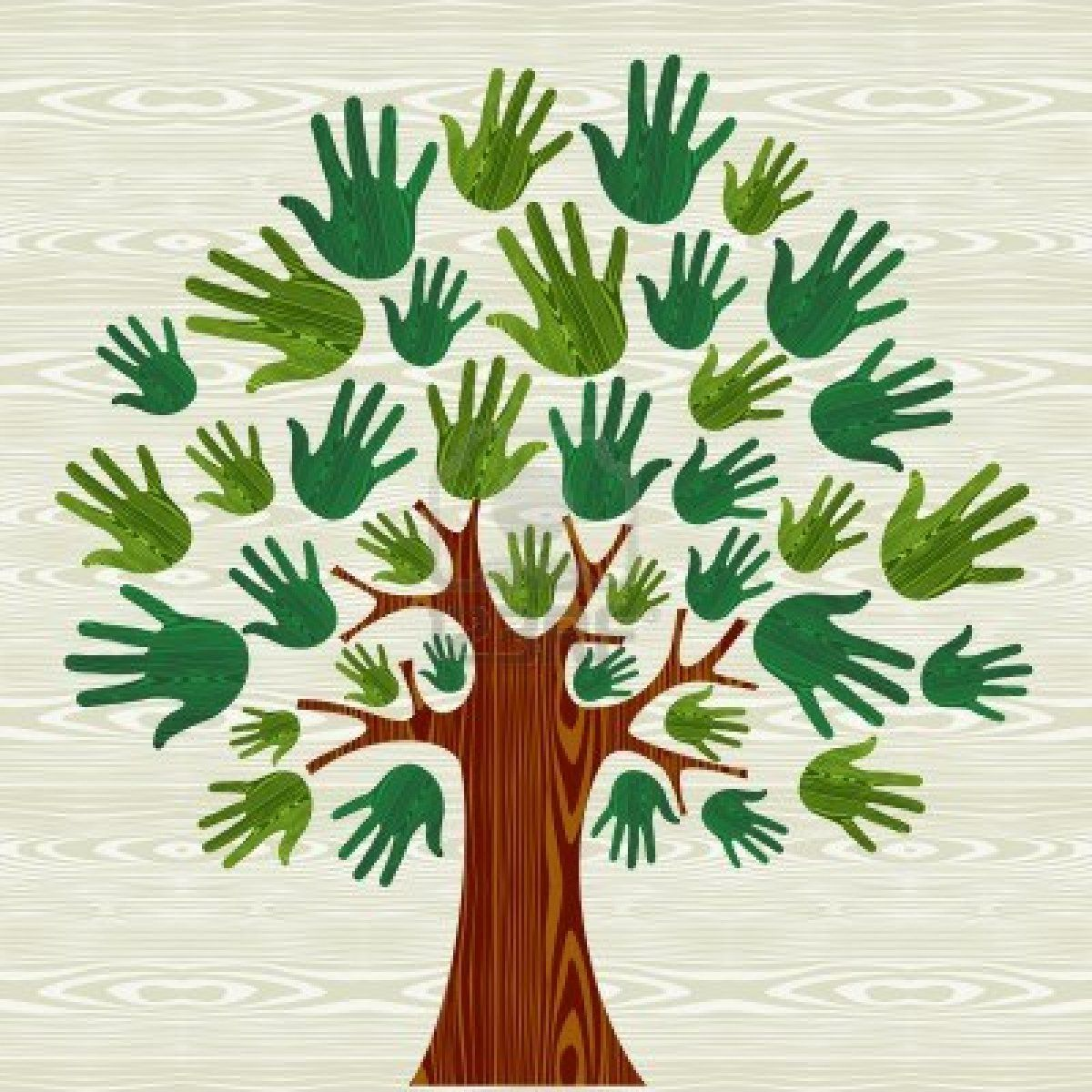 Eco Friendly Tree Hands Illustration For Greeting Card Over Wooden ...