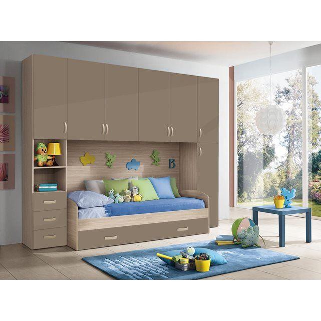 Chambre d 39 enfant compl te hurra combin lit pont d cor orme beige taupe mennza meubles - Chambre beige taupe ...