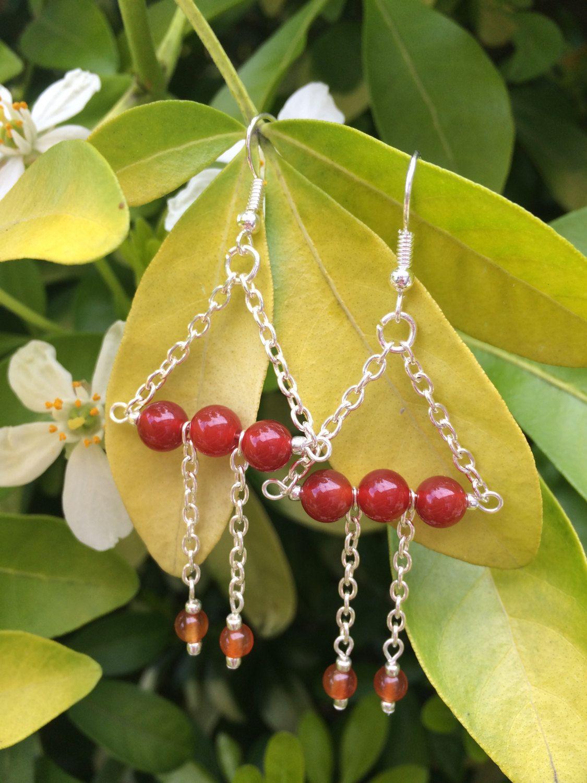 Carnelian Agate Earrings With Metallic Silver Seed Bead And Chain ...