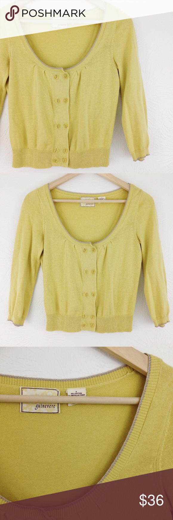 Anthro | Guinevere Cropped Pale Yellow Cardigan | Yellow cardigan ...