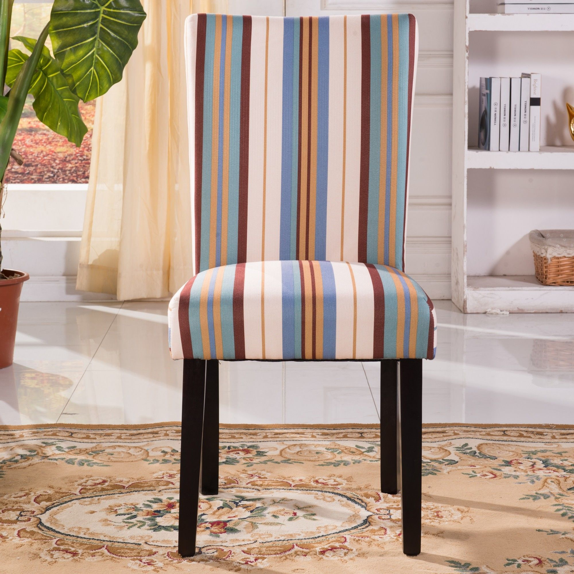 Contemporary Striped Print Pattern Parsons Chair