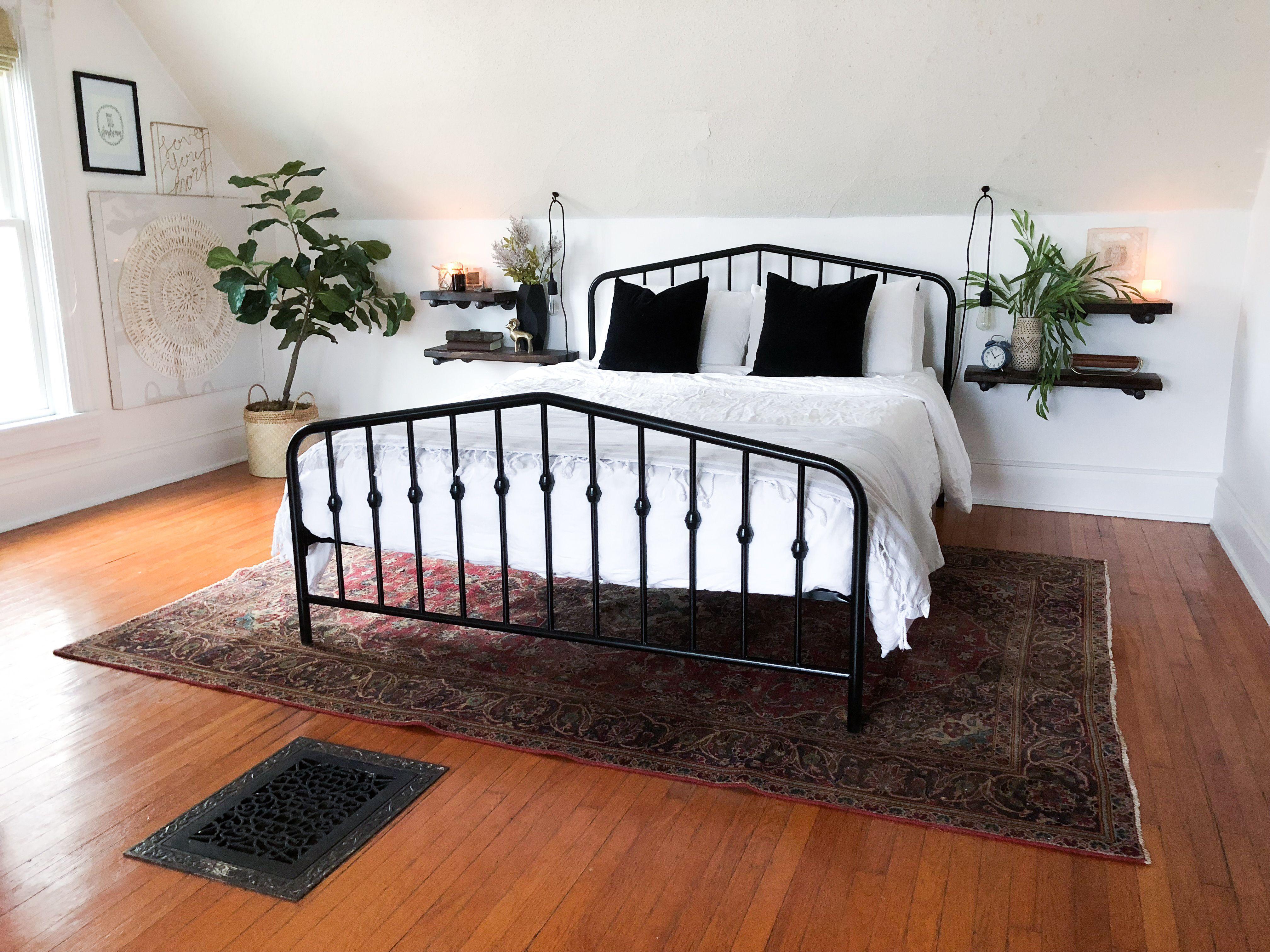 Modern Vintage Black Metal Bed Frame Vintage Rug White Walls