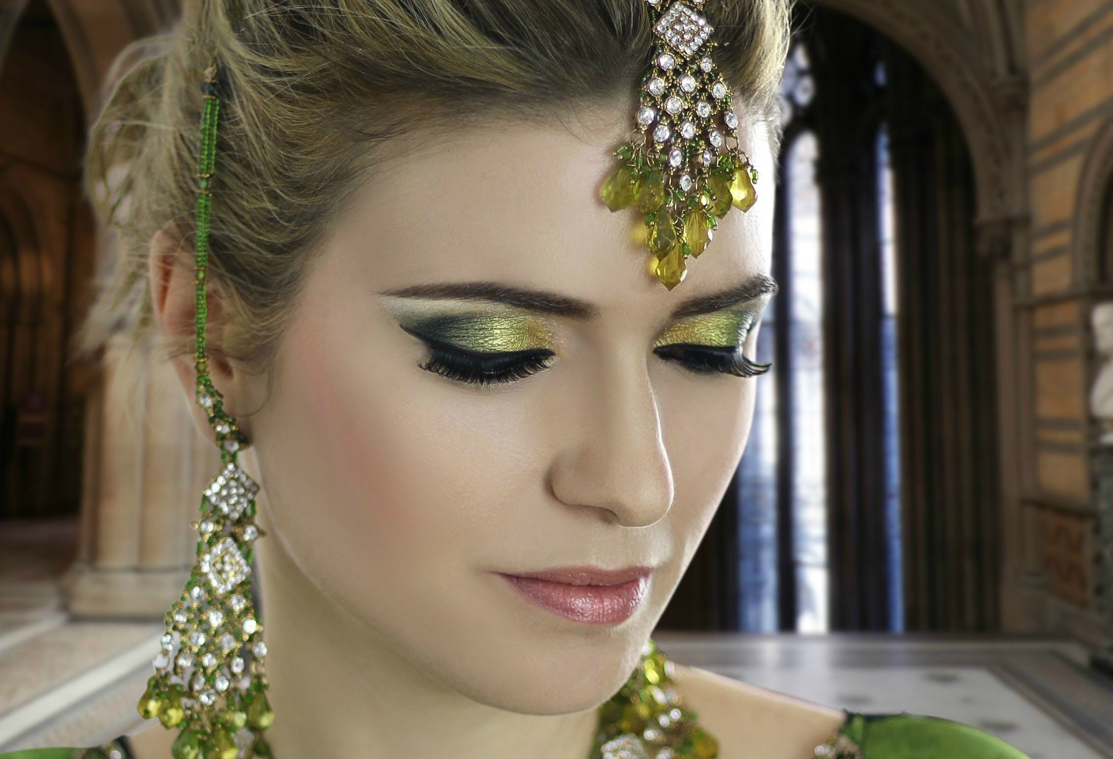 Emerald Green Mehndi Makeup , Asian Indian Pakistani Arabic