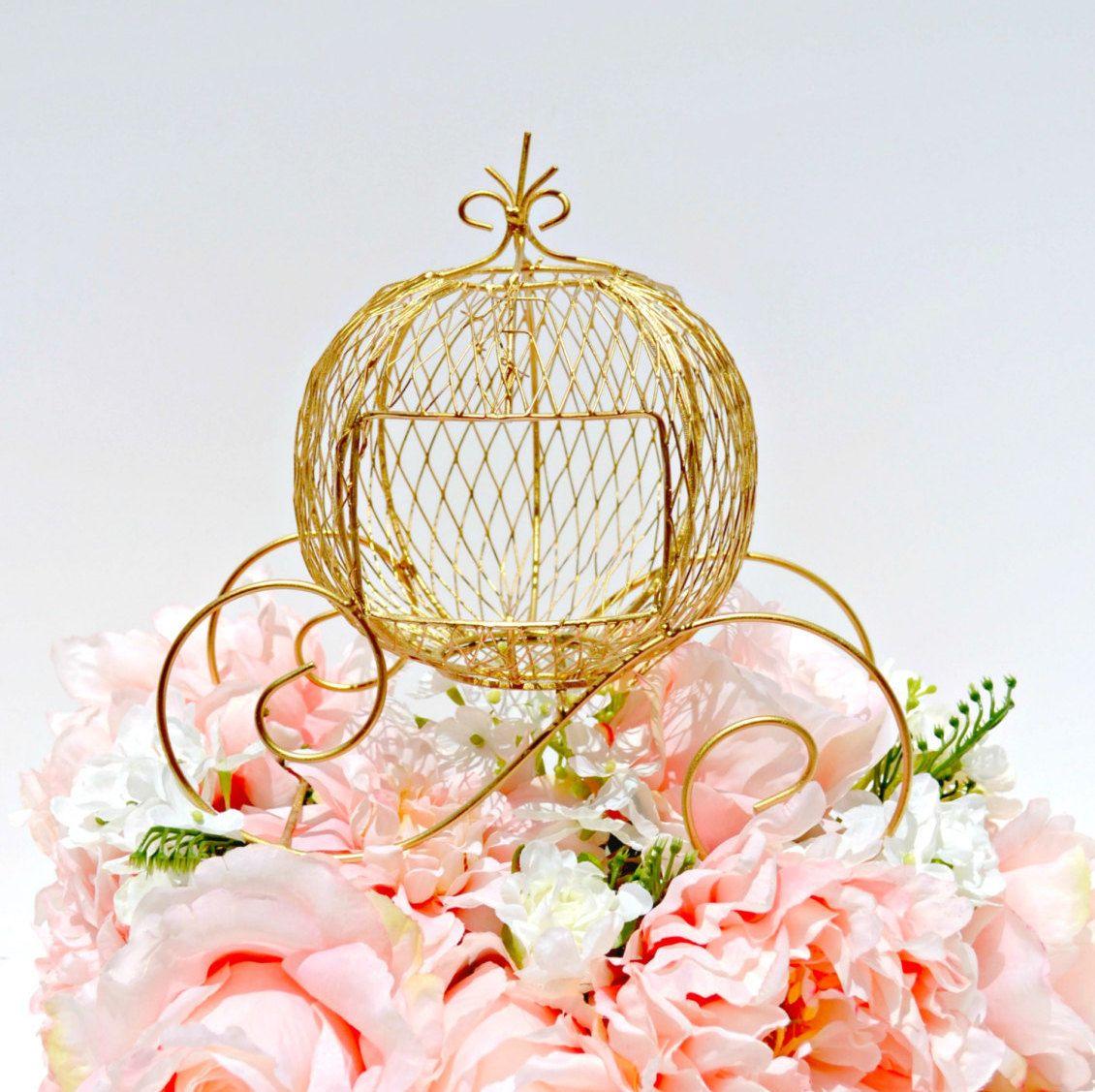 Wire Cinderella Coach, Gold Carriage Fairytale Wedding Centerpiece ...
