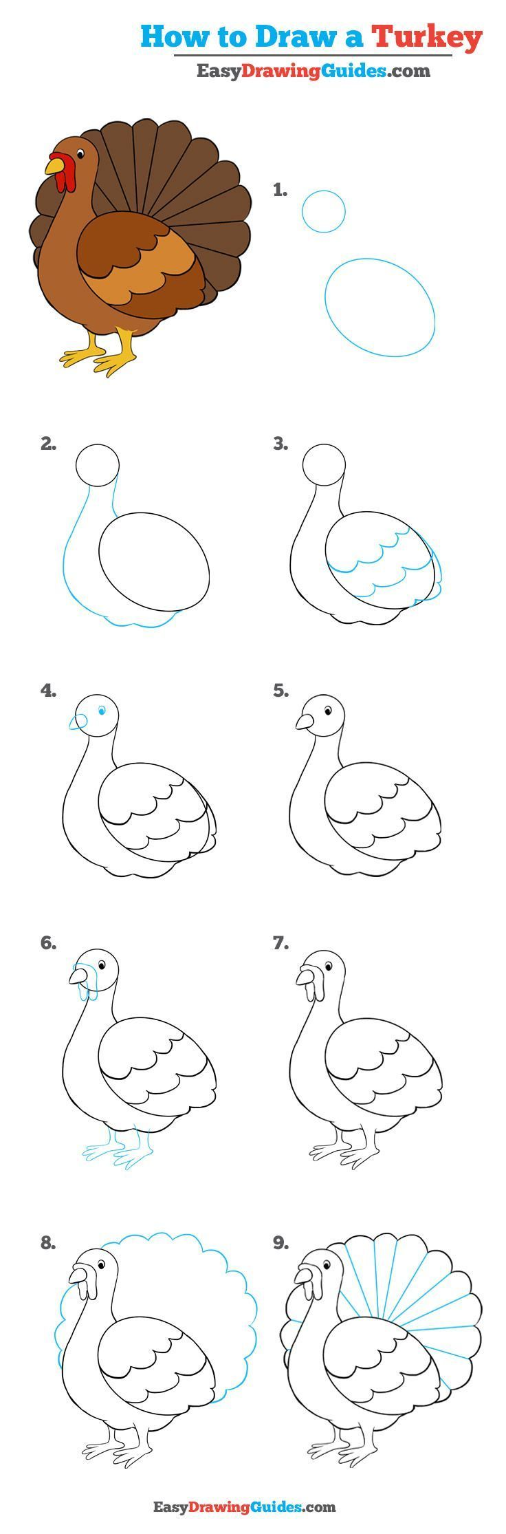 how to draw a turkey really easy drawing tutorial crafts