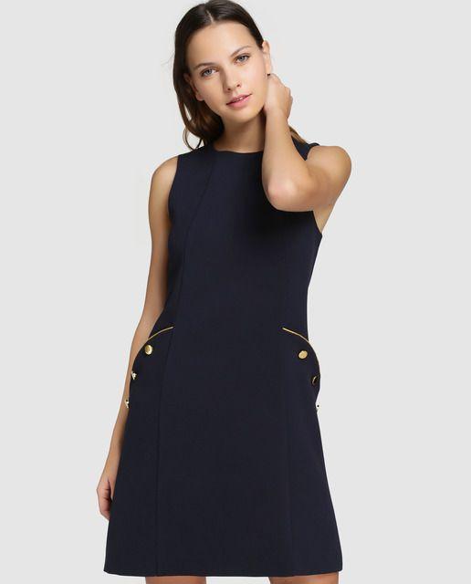 1337851c2 Pichi de mujer Tintoretto en azul marino con botones