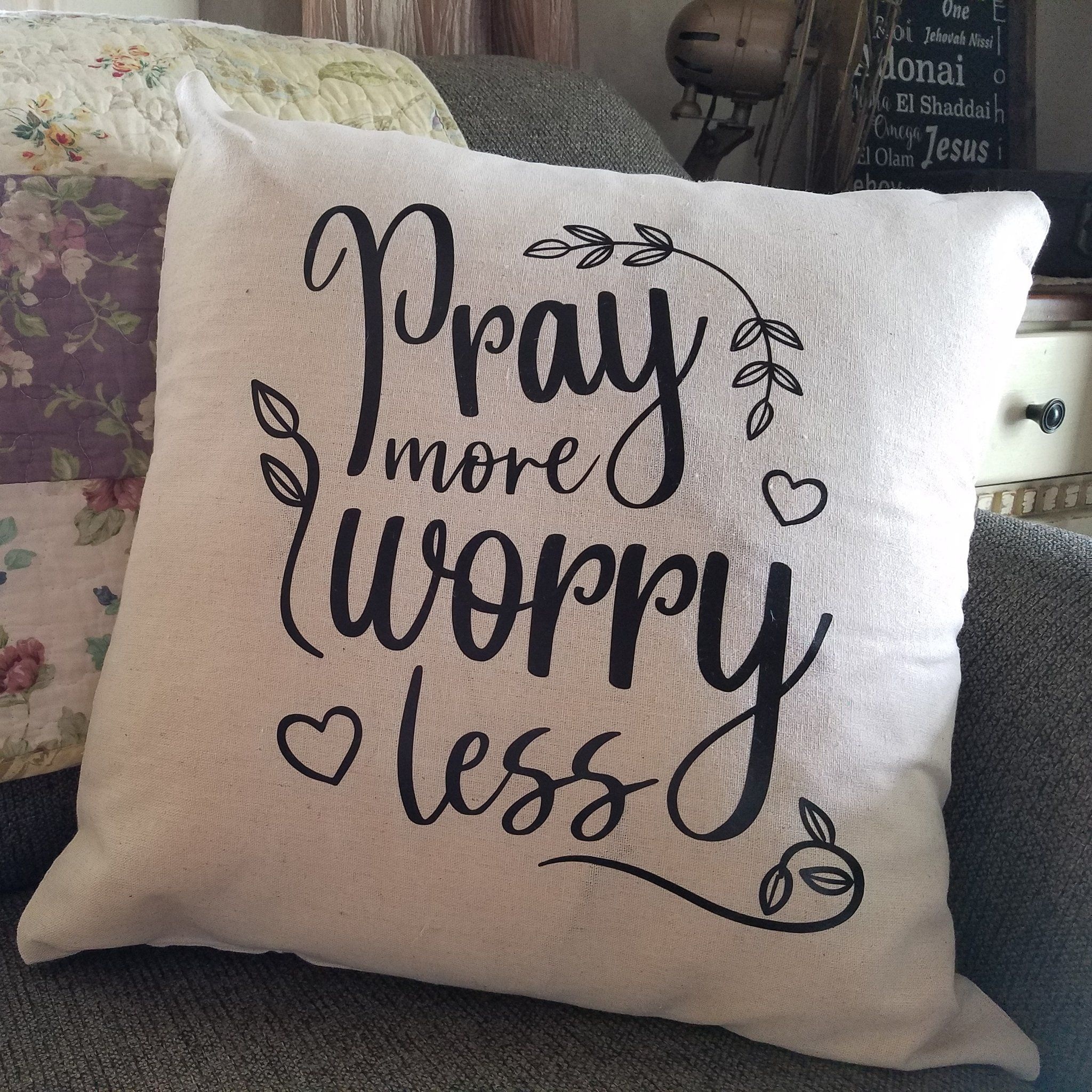 Pray More Worry Less Cotton Throw Pillow Cover Makes Updating Your Decor Simple And Elegant By Just Changing O Throw Pillow Covers 18x18 Throw Pillows Pillows