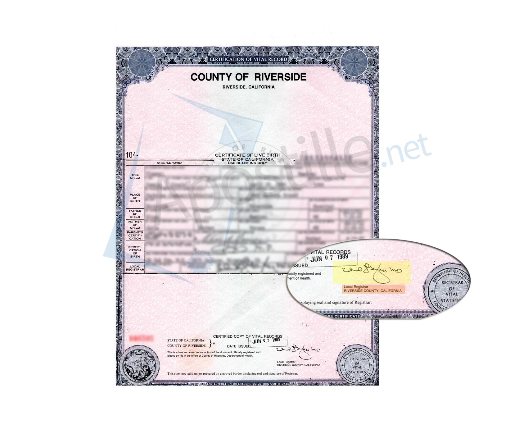 County Of Riverside Certificate Of Birth Ready For Apostille State