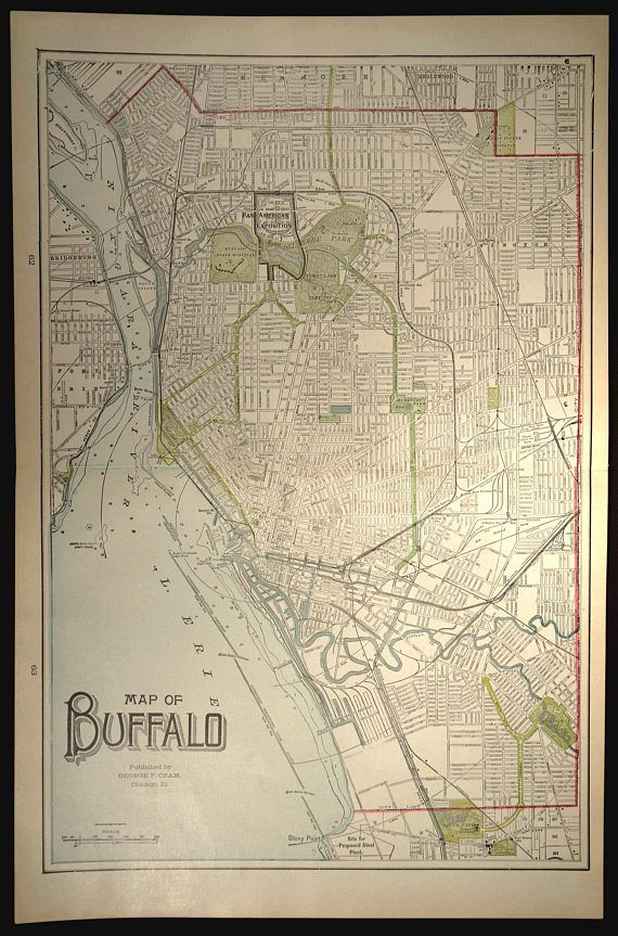 Map Buffalo Street Map Buffalo LARGE New York Antique Buffalo and