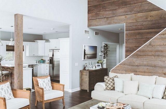 Wandgestaltung Holzdielen Echtholz Weiße Möbel