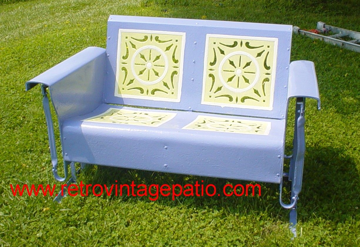Available Starburst Pattern Loveseat Metal OLD Vintage Porch Glider.Redone  In Lavender With Cream And Custard Accents...Yes!