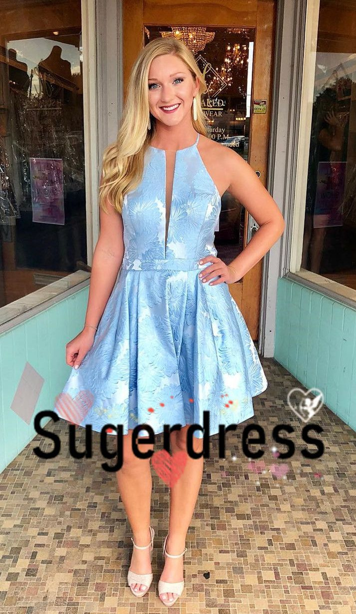 Cute blue short party dress homecoming dress from sugerdress in