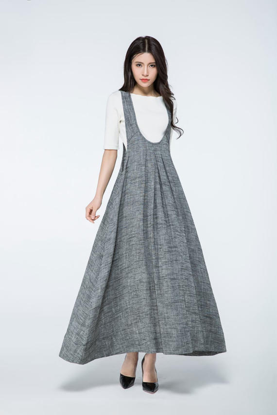 53922d141 Overall dress, Pinafore dress, linen dress, long dress gray, woman dress  linen, plus size dress, sum