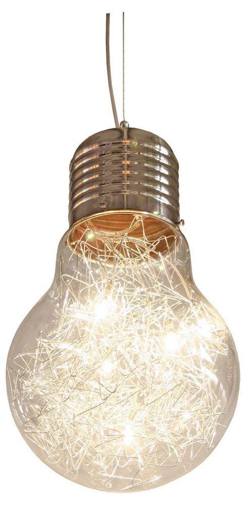 Contemporary Modern Giant Bare Bulb Light Metal Chrome Ceiling