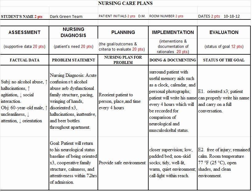 Nursing Teaching Plan Template Lovely Sample Nursing
