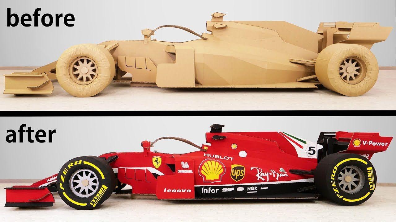 Transformation Of A Cardboard Formula 1 Into A Ferrari F1 Racing