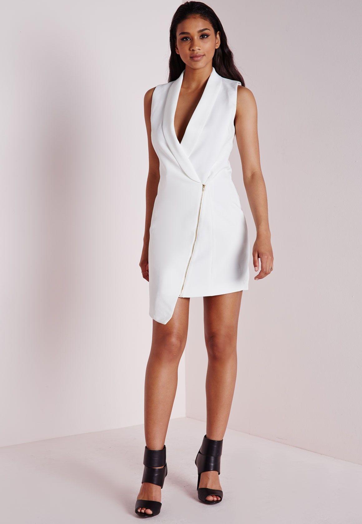 5995813b74461 Crepe Sleeveless Blazer Dress White - Dresses - Missguided