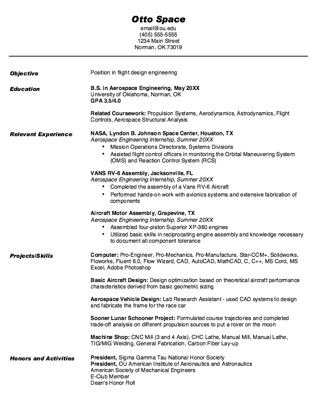 Example Of Flight Design Engineering Resume Examples Resume Cv