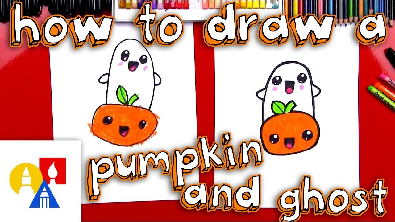 How To Draw A Cartoon Pumpkin And Ghost Art For Kids Hub Drawing Videos For Kids Cartoon Girl Drawing