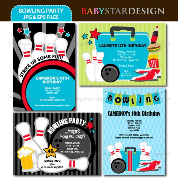 These adorable invitation templates are perfect for bowling party - bowling flyer template