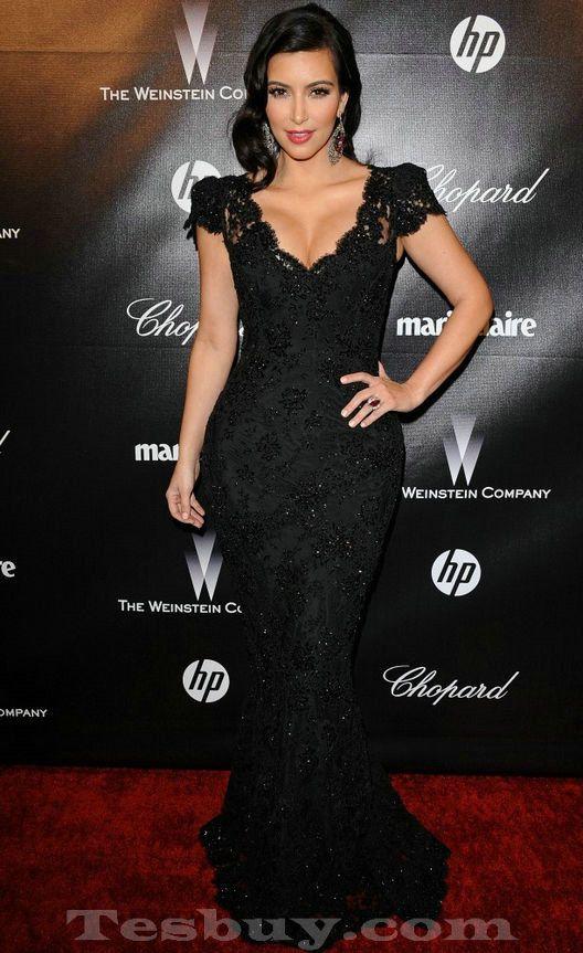 V Neck Cap Sleeves Trumpet Black Kim Kardashian Lace Dress,Mermaid ...
