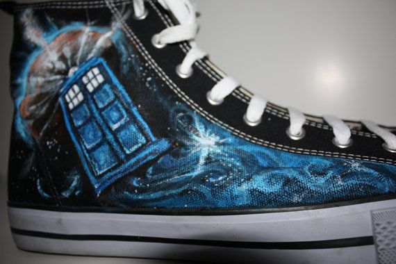 fe0df9d9a21a43 Custom Painted Doctor WHO Handpainted Shoes DON T BLINK HIghtop Men s  Women s bbc uk tardis