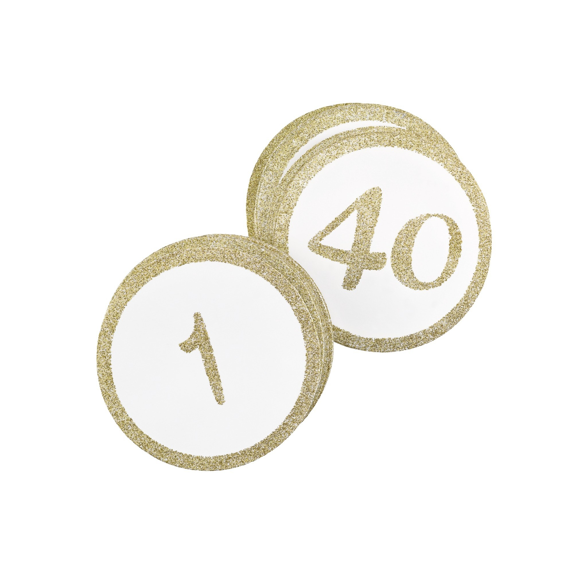 "40ct ""1-40"" Table Number Cards Gold Glitter"