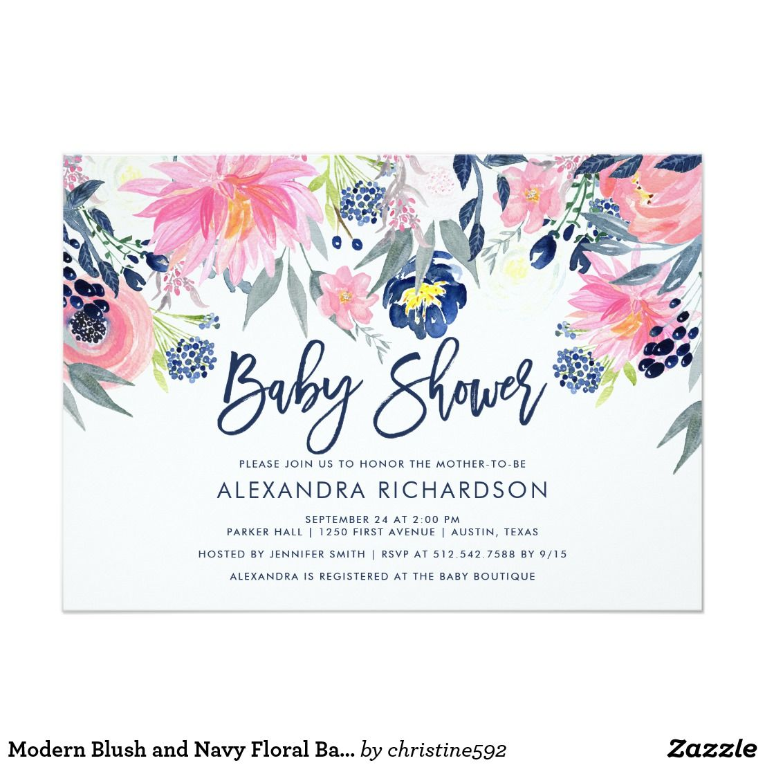 Modern Blush and Navy Floral Baby Shower Card This stylish and ...