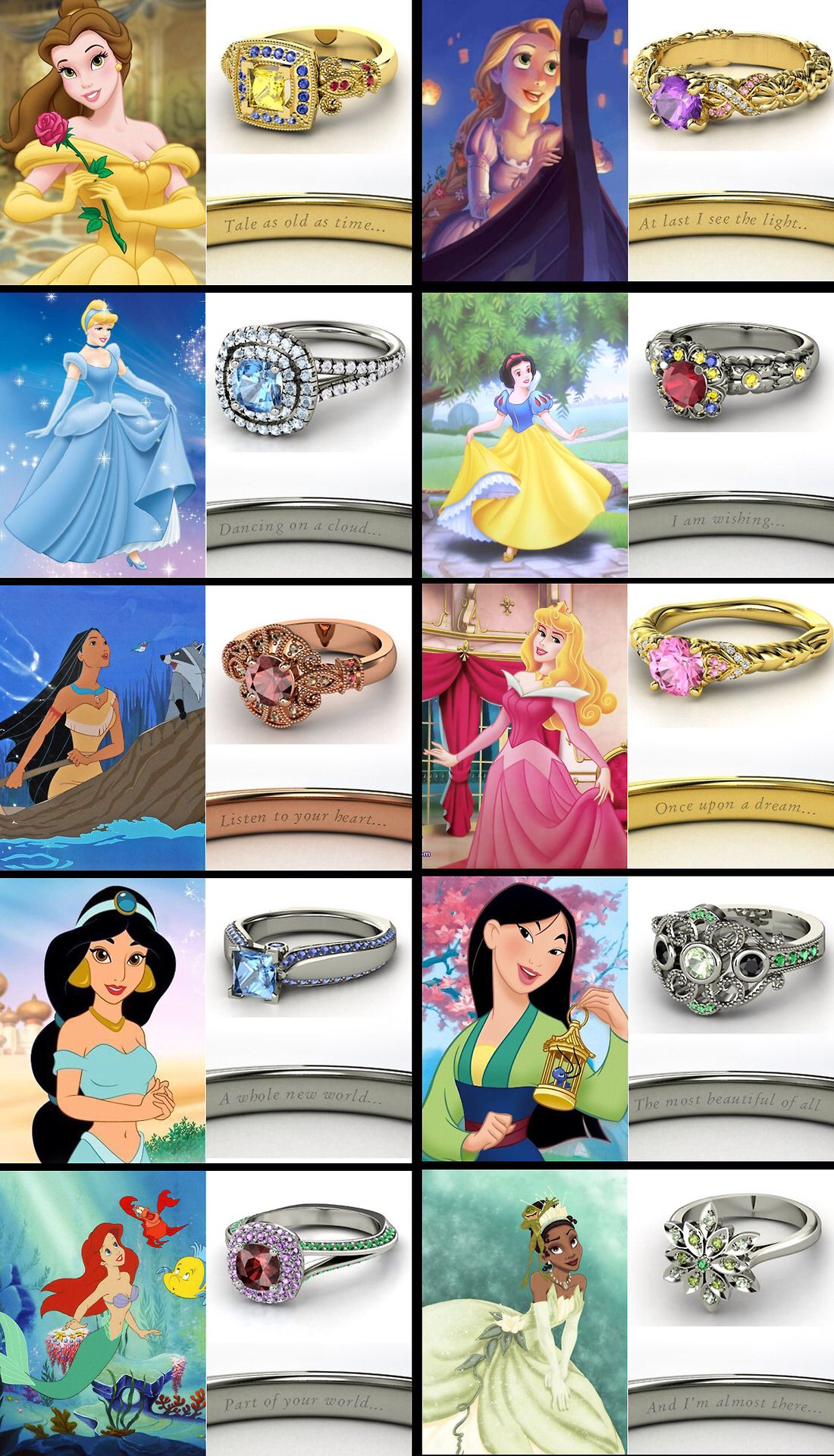 disney engagement rings - Disney Princess Wedding Rings