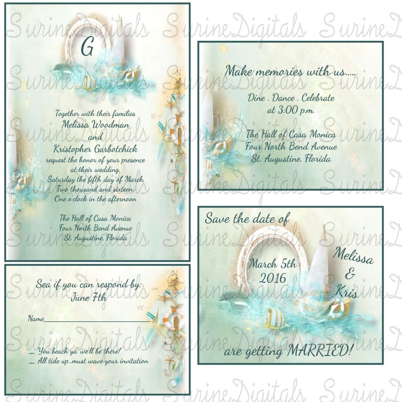 Nautical Wedding Invitation set, Dolphin Wedding themed invitations ...