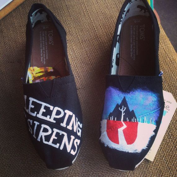 Sleeping With Sirens TOMS by AdrienneThompsonArt on Etsy