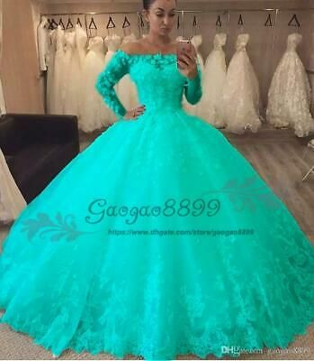 (Ad)eBay - 2019 Turquoise masquerade Ball Gown Quinceanera Dress long sleeve Sweet 16 Dress