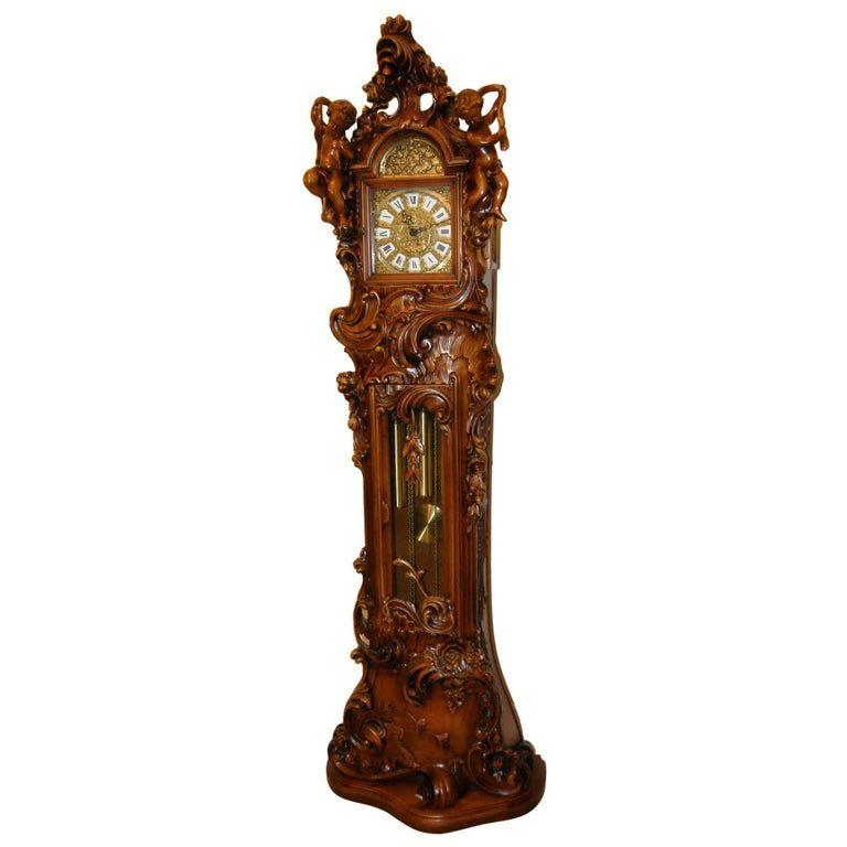 Art Nouveau Italian Baroque Grandfather Clock Carved Cherubs Franz Hermle In 2020 Grandfather Clock Italian Baroque Clock