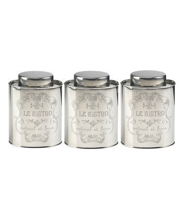 Look at this #zulilyfind! 'Le Bistro' Medium Stainless Steel Canister - Set of Three by Global Amici #zulilyfinds