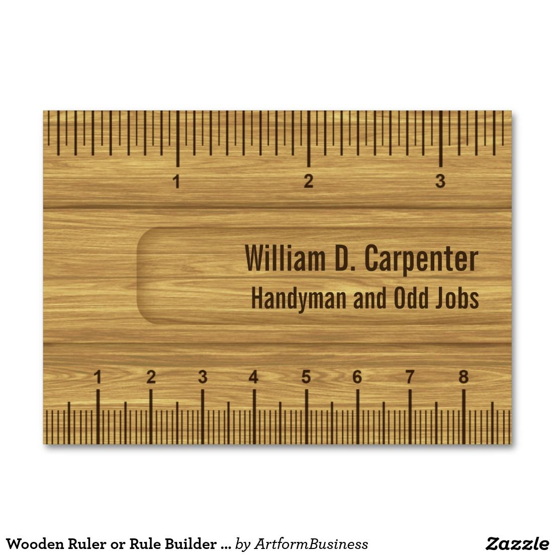 Wooden Ruler or Rule Builder or Carpenter Large Business Cards ...