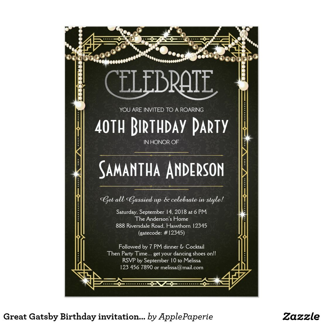 shop great gatsby bridal shower invitation art deco created by applepaperie