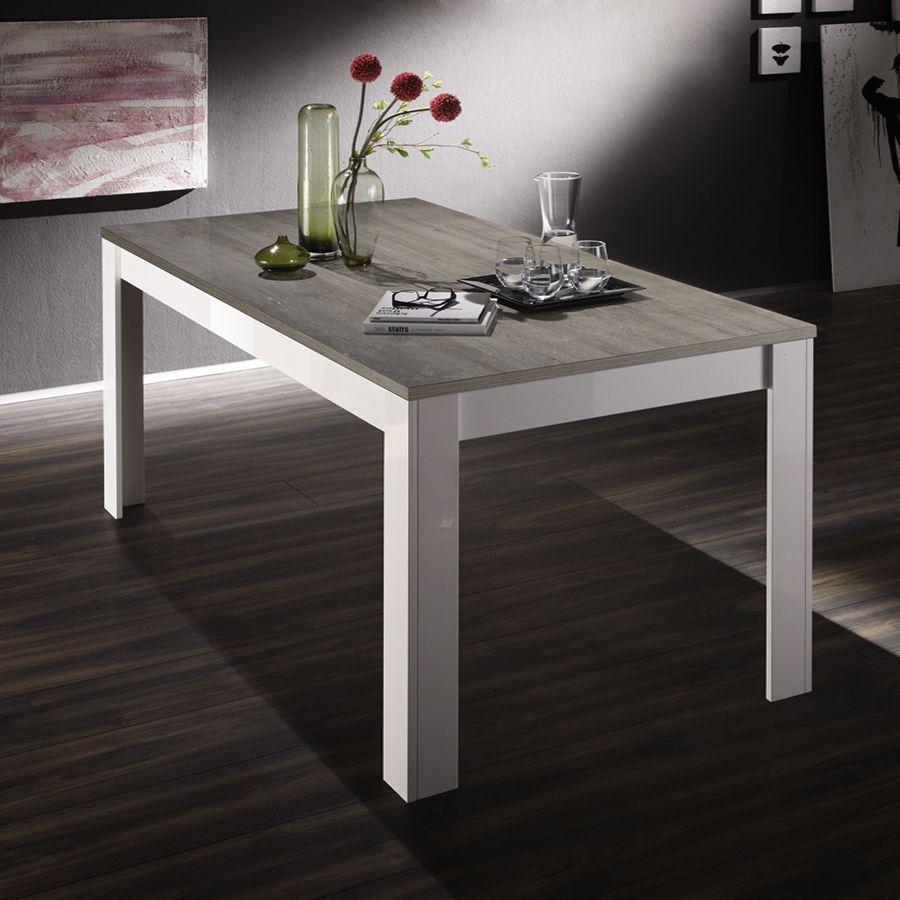 Table à manger blanc laqué et bois gris moderne ESMERALDA 2 ...